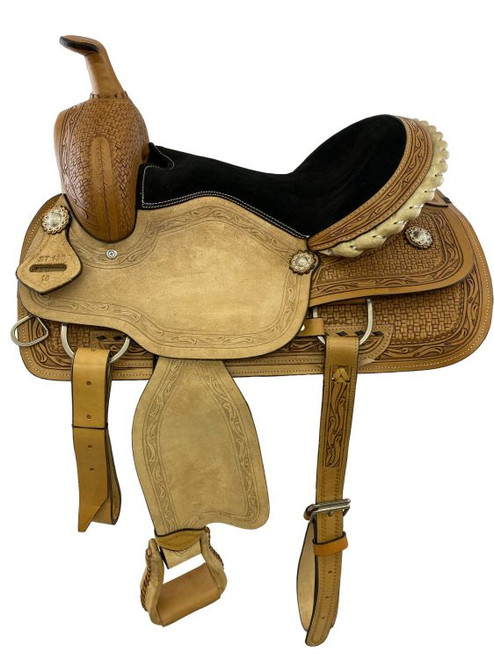 """16"""" Roper Style saddle with light roughout fenders & jockies, and padded black suede seat."""