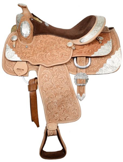 """16"""" Fully tooled Double T Show Saddle  Light Oil"""