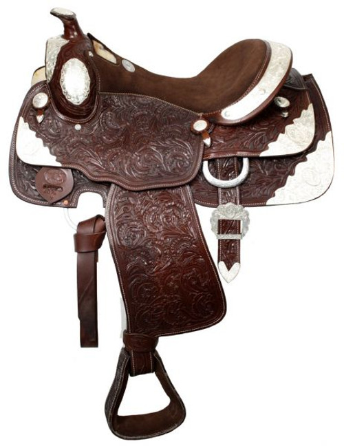 """16"""" Fully tooled Double T Show Saddle  Dark Oil"""
