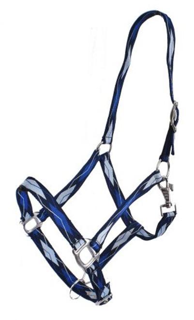 3 ply Diamond Print Nylon Horse Sized Halter BLUE