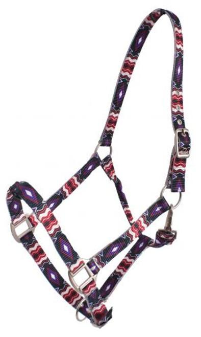 Showman® Premium Nylon Horse Sized Halter Black Red Purple