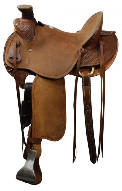 """15"""", 16"""", 17"""" Showman™  saddle with braided basket weave tooling."""
