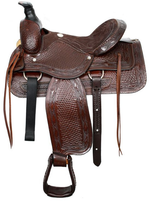 """16"""" Buffalo roper style saddle with suede leather seat"""