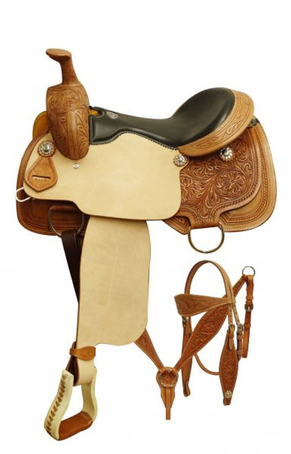 """16""""  Double T  Roper style saddle set with floral tooling"""