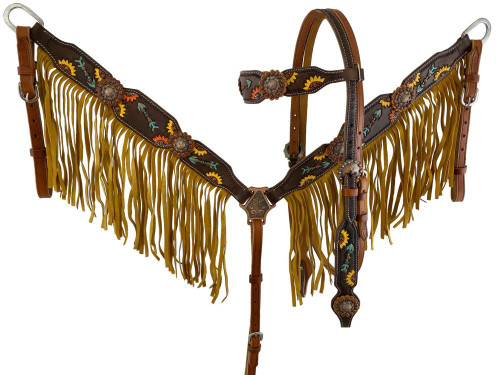 Showman ® Hand Painted Sunflower & Arrow design Browband Headstall and Breast collar Set with Fringe