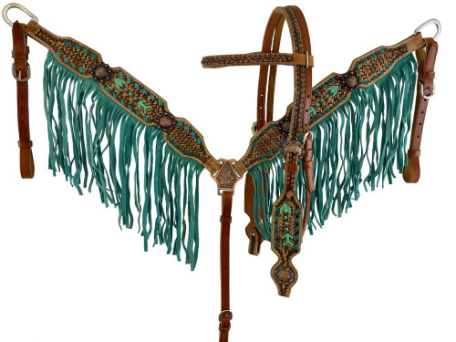 Showman ® Hand Painted Arrow design Browband Headstall and Breast collar Set with Fringe