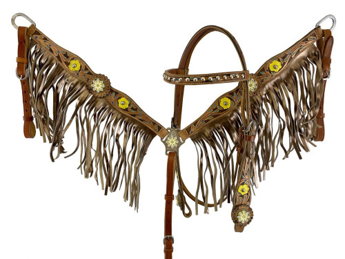 Showman ® Hand Painted Floral Accent Browband Headstall and Breast collar Set with Fringe