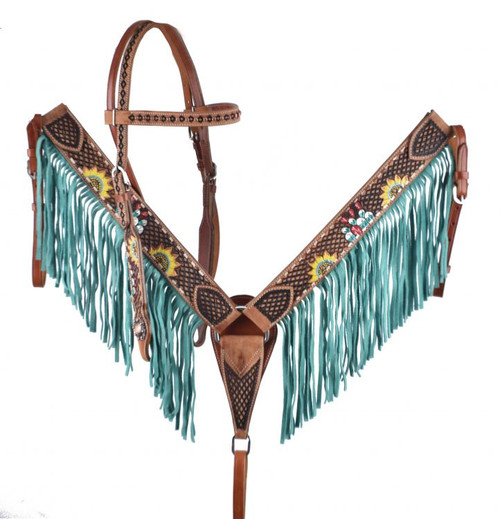 Showman ® Hand painted cactus and sunflower design headstall and breast collar with fringe
