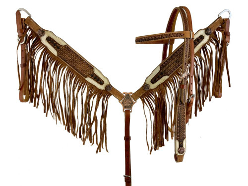 Showman ® Vintage style browband headstall and breast collar. with fringe