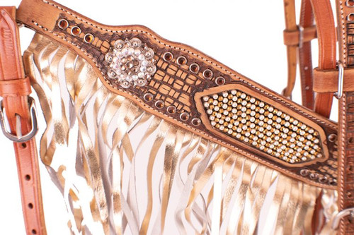 Showman  ® Gold  &  Pearl  Inlay  Browband  Headstall  and  Breast  Collar  Set with  Gold  metallic  leather  fringe