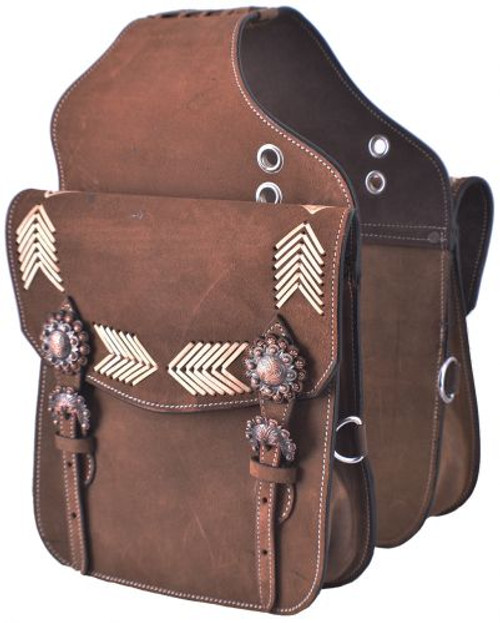 Showman ® Brown Roughout Leather saddle bag with rawhide arrow inlays