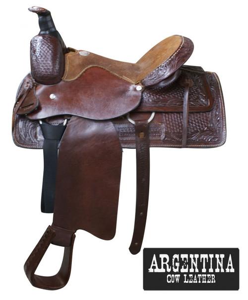 "16"" Buffalo Argentina cow leather roper style saddle Dark Oil"