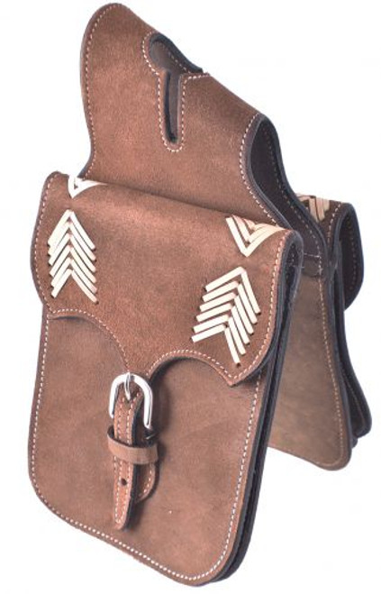 Showman ® Brown Roughout Leather horn bag with rawhide arrow inlays