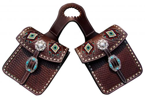 Showman ® Basketweave tooled leather horn bag with beaded inlay teal and green