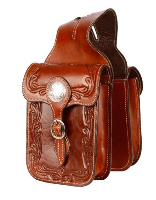 Showman® Tooled leather horn bag