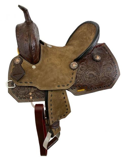 """10"""" Double T  Youth Hard Seat Barrel style saddle."""