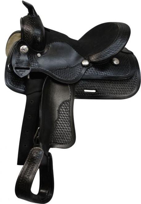 """12"""" Pony Saddle with Basket Weave Tooling - BLACK"""