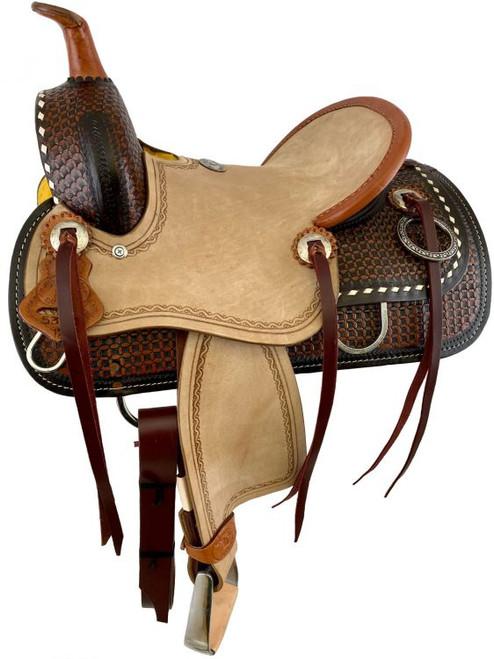 "12"" Double T  Hard Seat Roping Style Saddle with Dark & Medium Basket Weave Tooling"