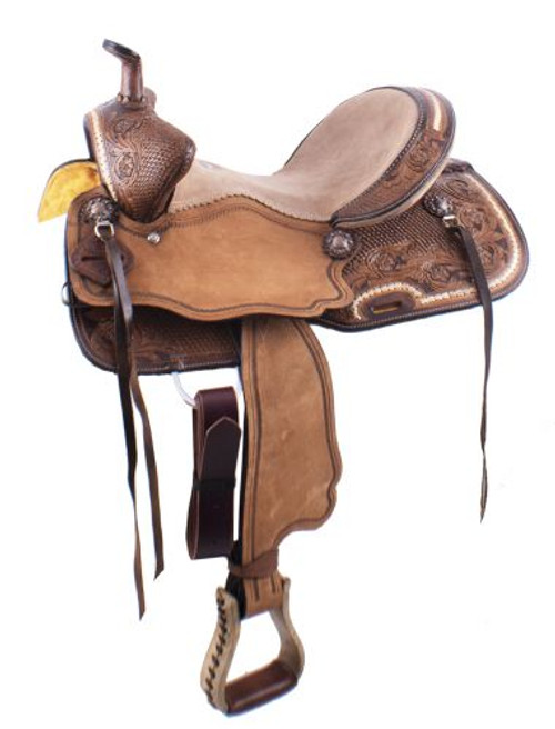 """15"""" Double T Basket Weave and Floral Tooled Barrel Style Saddle"""