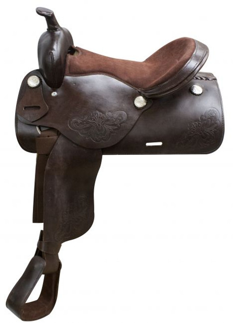 """16"""" Economy Brown Western Saddle with Floral Tooling"""