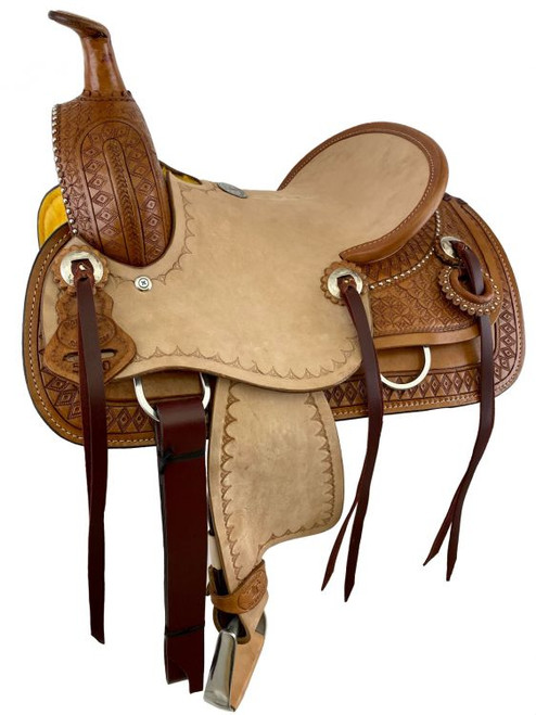 """12"""" Double T  Hard Seat Roping Style Saddle with Diamond Tooling"""