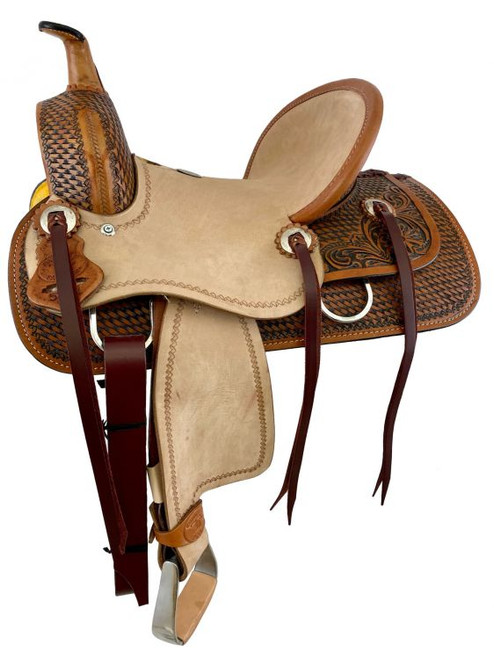 """12"""" Double T  Hard Seat Roping Style Saddle with Combo Basket/ Floral Tooling"""