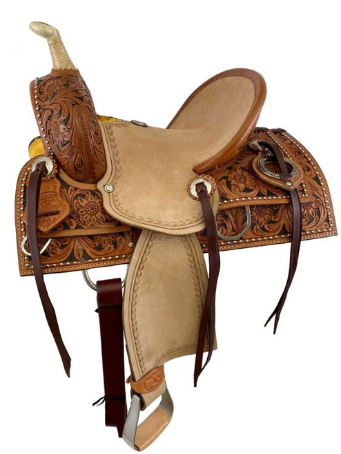 """12"""" Double T  Hard Seat Roping Style Saddle with Floral Tooling"""