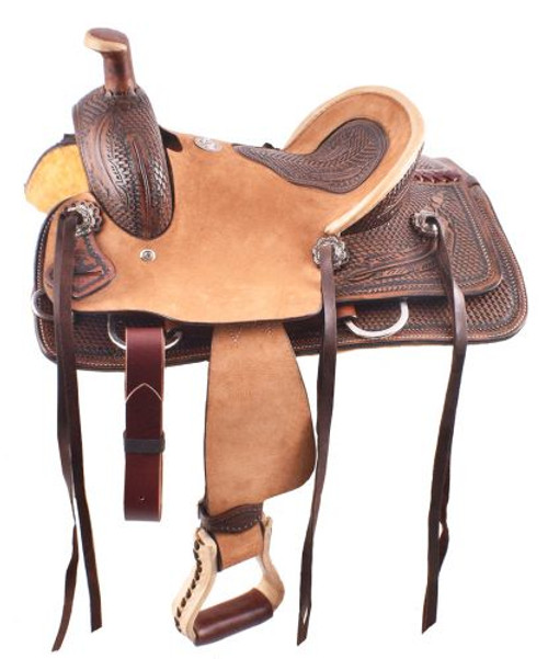 """12""""Double T  Hard Seat Roper Style Saddle with Basket Weave and Feather Tooling"""
