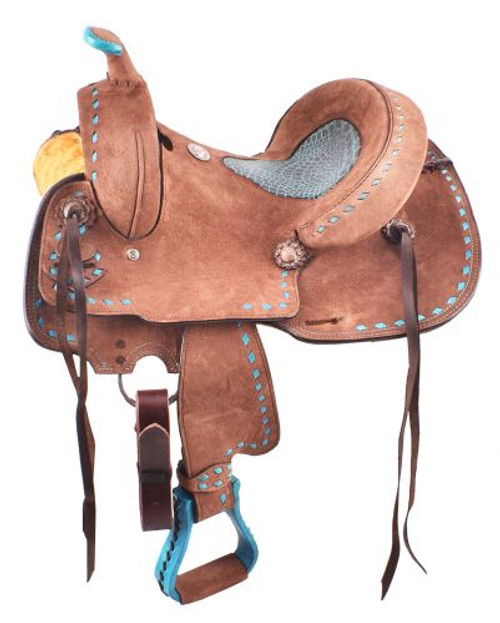 Double T  Roughout Barrel Style Saddle with Turquoise Alligator Seat