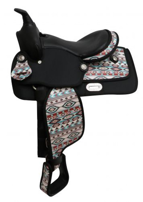 """12"""" Economy Synthetic Saddle with Navajo Print"""