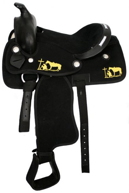 "12"" Black Nylon Cordura Pony Saddle with Praying Cowboy"