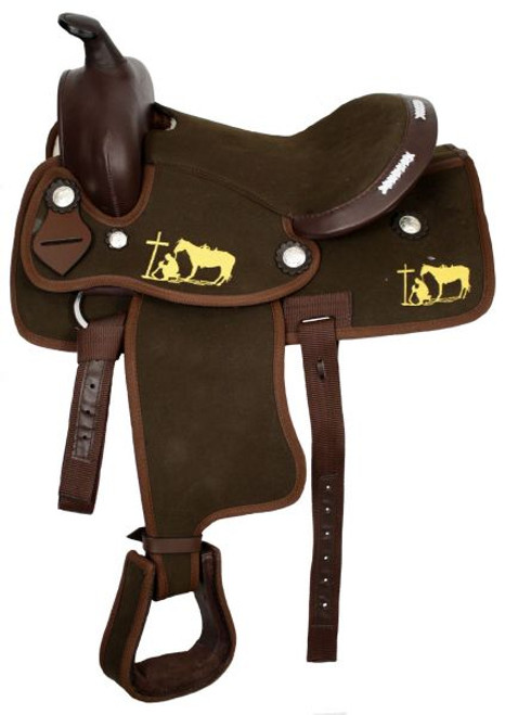"12"" Brown Nylon Cordura Pony Saddle with Praying Cowboy"