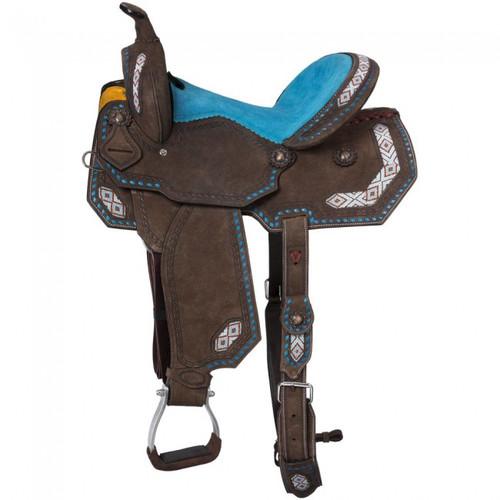 "10"" 12"" 13"" 14"" 15""  Sonora Barrel Turquoise Saddle"