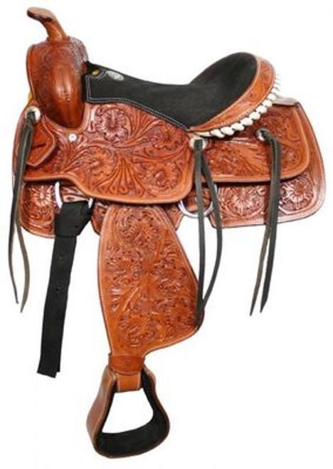 """13"""" Fully tooled Double T youth saddle"""