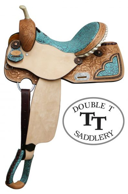"14"", 15"", 16"" Double T Barrel Style Saddle with Filigree Print Seat. This saddle features teal colored seat with filigree pattern. Floral tooled skirts feature with cut out filigree print accented copper colored studs. Tooled cantle is accented with silver laced rawhide. Bell stirrups feature filigree print with leather tred. Saddle is accented with copper colored conchos and engraved silver rigging plate. Saddle comes equipped with D-rings on front of skirts and leather latigo tie strap and off billet. Made by Double T Saddlery. This saddle matches headstall and breast collar set #6576set  Model:  6576  Seat:  14"", 15"", 16"" Filigree print  Bars:  *Full Quarter horse"
