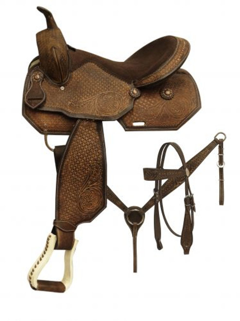 """16"""" Barrel style saddle with tooled rough out leather. This saddle features floral and basket tooled design on a chocolate color rough out leather."""