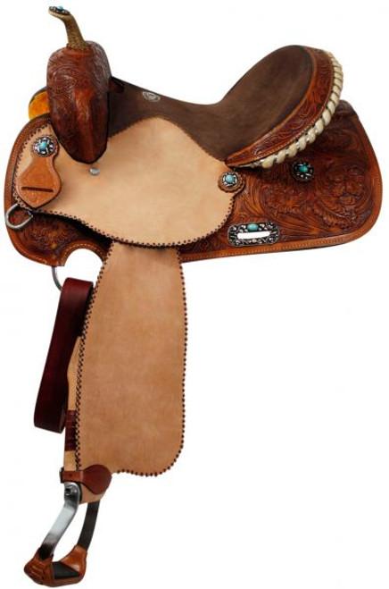"""16"""" Turquoise Stone Concho Barrel Saddle"""