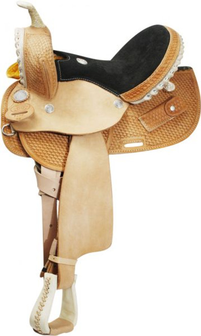 Round Skirted Barrel Style Saddle made By Circle S Saddlery. Saddle features basketweave tooling with roughout jockies and fenders. Silver wrapped rawhide braided cantle, gullet, and horn, along with rawhide stirrups. Suede leather seat, hoof pick keeper, and silver hardware. Comes complete with latigo tie strap and off billet.