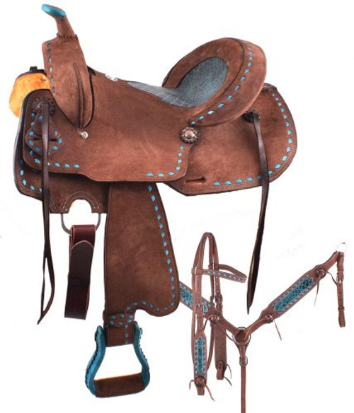 """14"""", 15"""", 16""""  Double T  Roughout Barrel Style Saddle Set  with Alligator Inlay"""