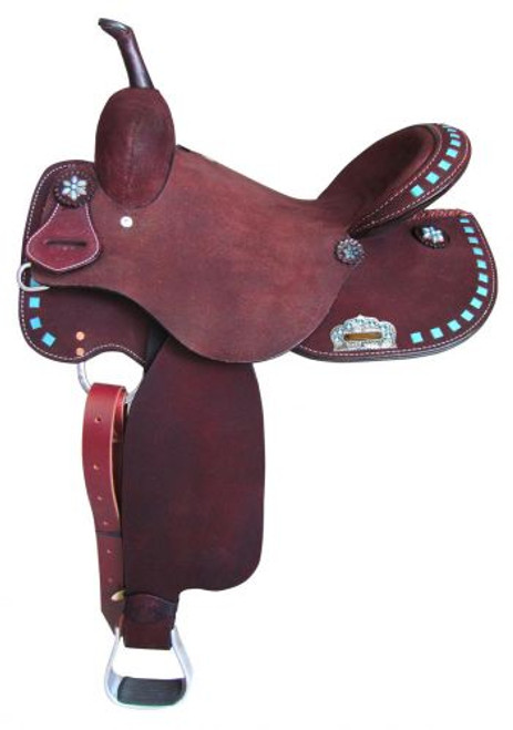 Circle S Barrel Style Saddle with turquoise buckstitch trim 16""