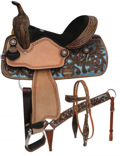 "14"", Double T  barrel style saddle set with metallic painted tooling"