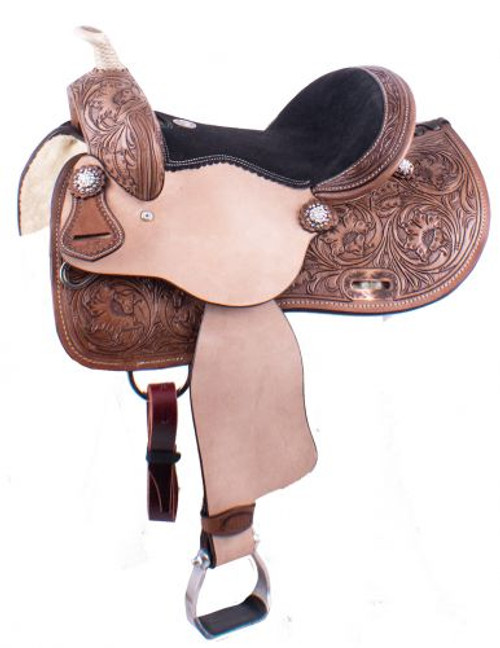 "13"" Double T  Youth barrel style saddle with floral tooling and iridescent crystal rhinestone conchos."