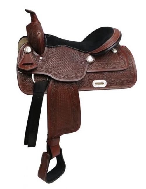 """16"""" Economy Style Western Saddle with Basket Tooling"""