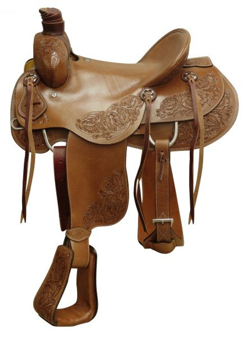 """16"""" Circle S Hard Seat Roper Saddle with Floral Tooling"""
