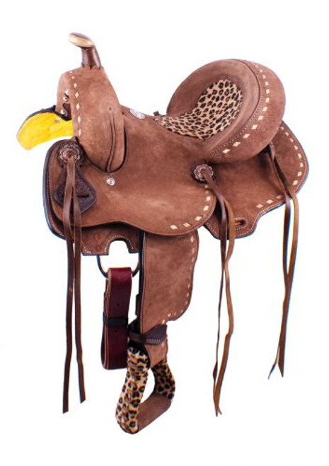 "13"" Double T  Youth Hard Seat Barrel style saddle with Cheetah Seat"