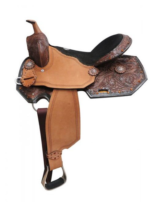 "16"" Double T  barrel style saddle with amber colored rhinestones and floral tooling."