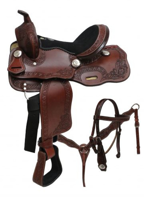 """12"""" Double T Pony Dark Oil Saddle Set with Floral Tooling"""