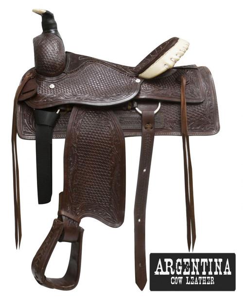 """16"""" Buffalo Argentina cow leather roper style saddle"""