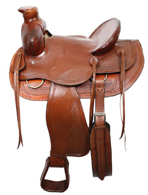 """16"""" Wade Style Ranch Saddle with Square Front with Natural Rawhide"""