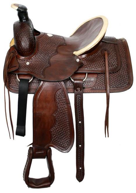Buffalo roper style highback hardseat saddle with basketweave tooling